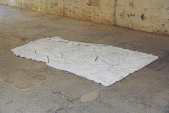 Guillaume Leblon. UNTITLED, 2012. Felt and white paint. 160 cm x 80 cm