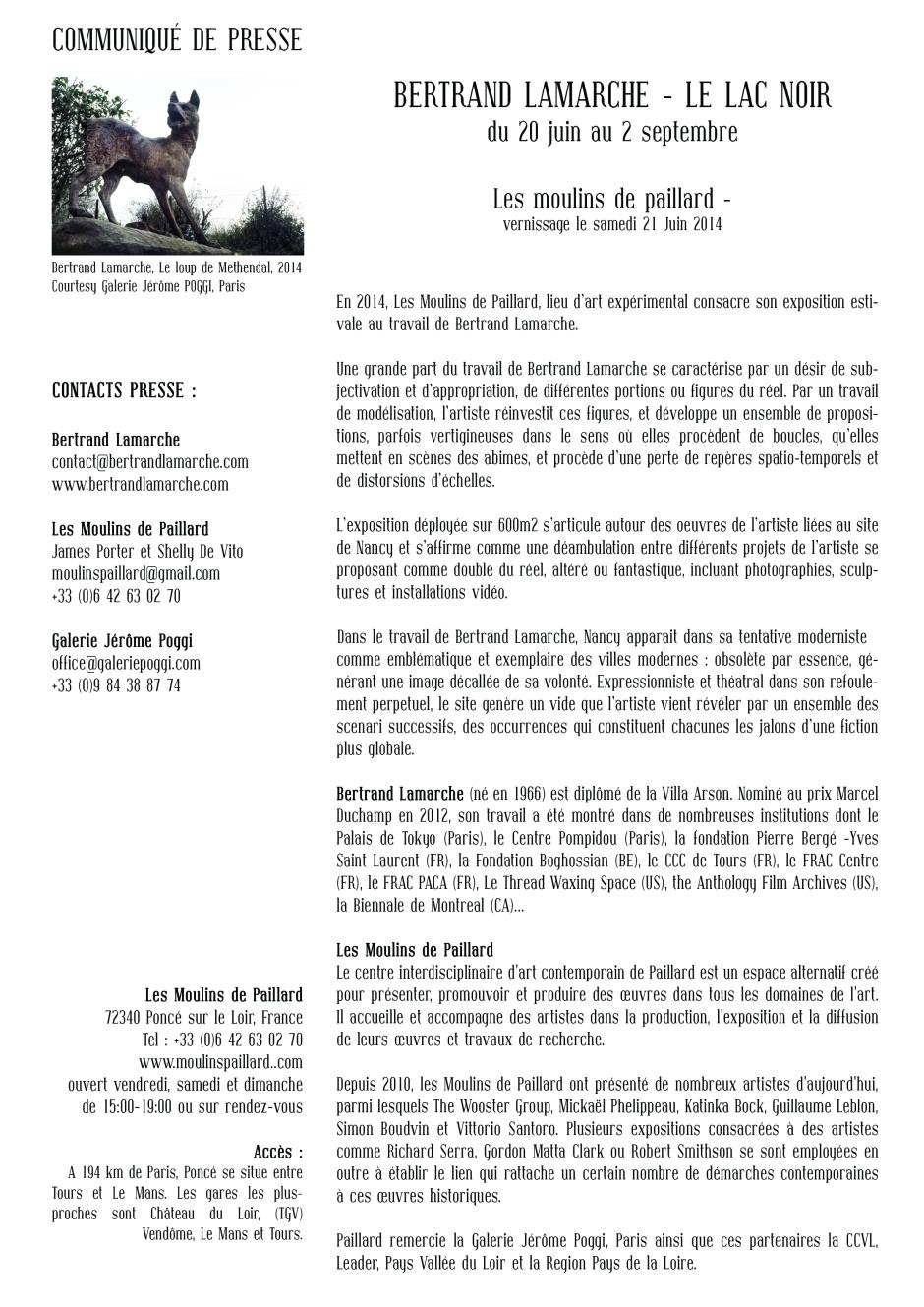 lac noir communiqué de presse