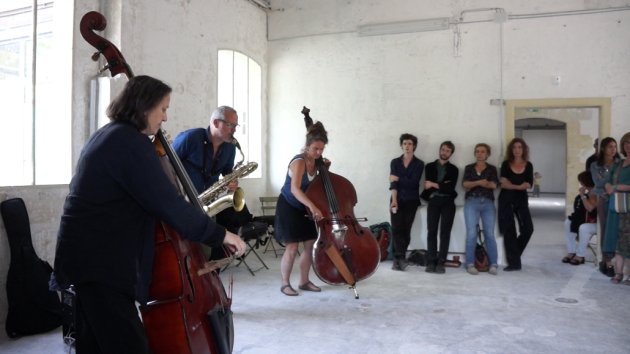 Joëlle  Léandre, François Corneloup et Julia Robin, 21 juin 2015.